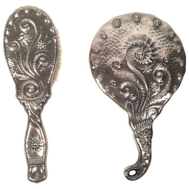 19th Century Sterling Silver Hand Mirror and Hair Brush For Sale - Image 11 of 11