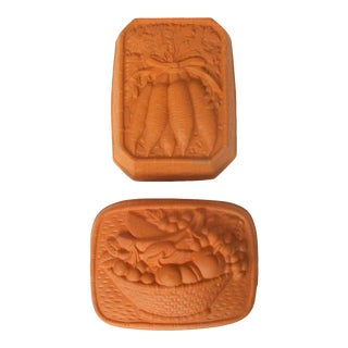 French Country Terra Cotta Kitchen Baker's Terrine Food Molds - a Pair For Sale