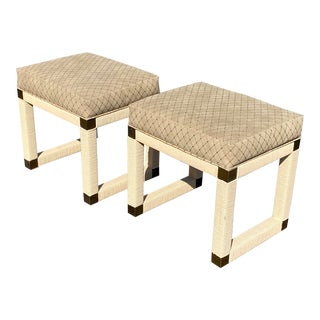 Mid Century, Hollywood Regency Suede & Rattan,Brass Bench Set For Sale