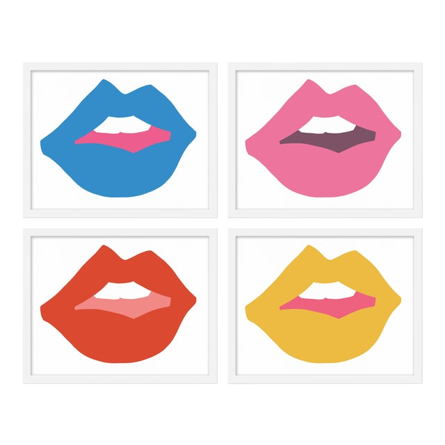 """Medium """"Kiss Me (With Yellow)"""" Print by Angela Chrusciaki Blehm, 40"""" X 32"""" - Set of 4 For Sale"""