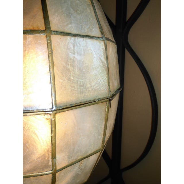Mid Century Moderm Capiz Shell and Wrough Iron Sconce Wall Light, N1960s For Sale - Image 9 of 13