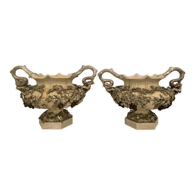 Pair Antique Villeroy & Boch Silver Mounted Porcelain Urns, Circa 1880. For Sale