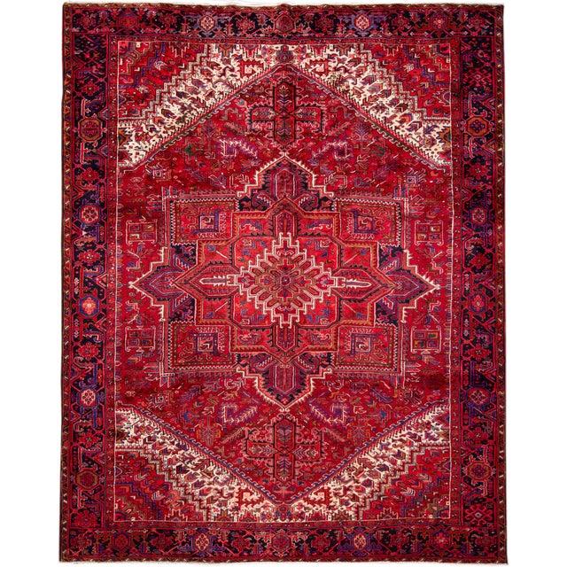 "Vintage Persian Heriz Rug, 10'2"" X 12'10"" For Sale - Image 12 of 12"