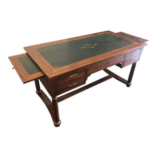 Antique Louis Philippe Mahogany Writing Desk With Green Leather Top For Sale