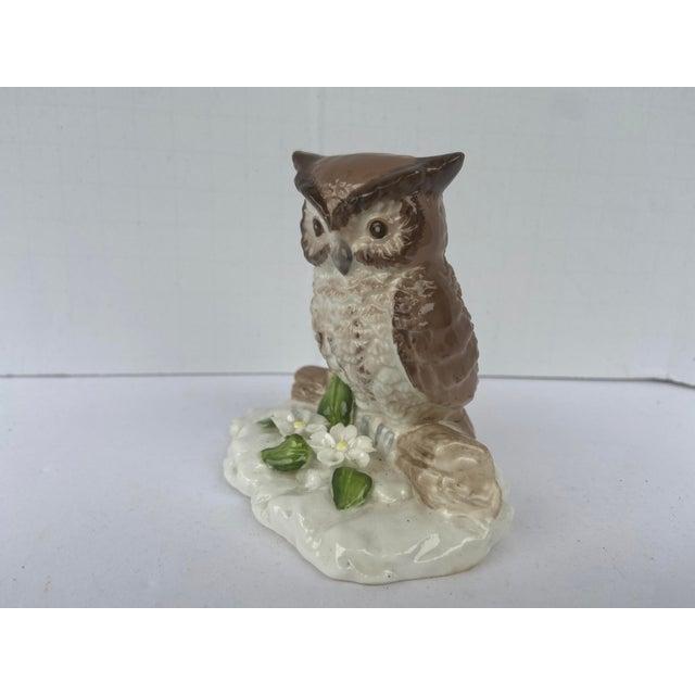 Shabby Chic Mid Century Bone China Owl Figurine For Sale - Image 3 of 9