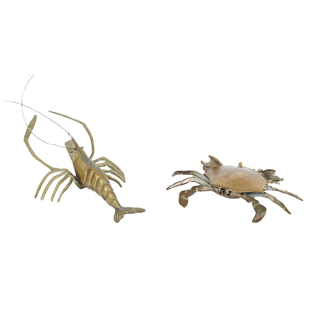 Vintage Brass Crustaceans - A Pair For Sale