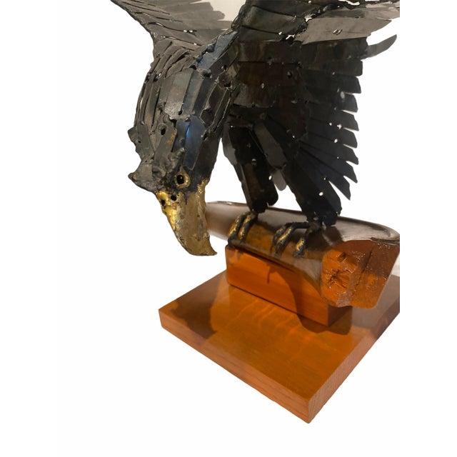Black Vintage Artisan Mid-Century Welded Metal Sculpture Flying Eagle For Sale - Image 8 of 9