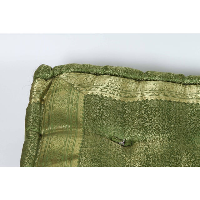Boho Chic Oversized Silk Square Green Tufted Moroccan Floor Pillow Cushion For Sale - Image 3 of 6