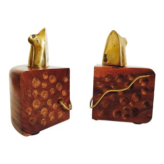 Vintage Wood and Brass Mouse and Cheese Bookends - A Pair