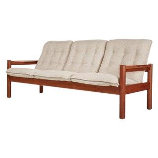 Restored Ivory Beige Danish Modern Teak Sofa Mid Century Modern Domino Mobler For Sale