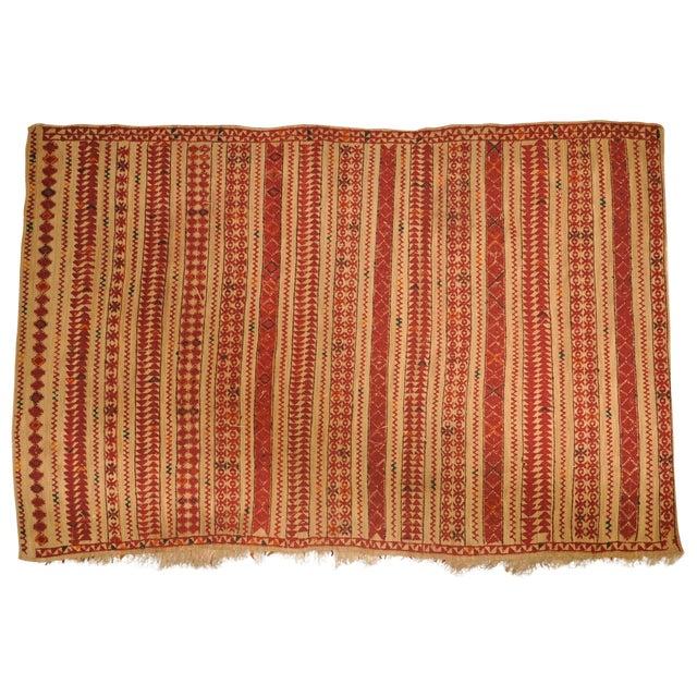 "Vintage Moroccan Wool Straw Rug - 6'6"" x 8'10"" - Image 1 of 4"