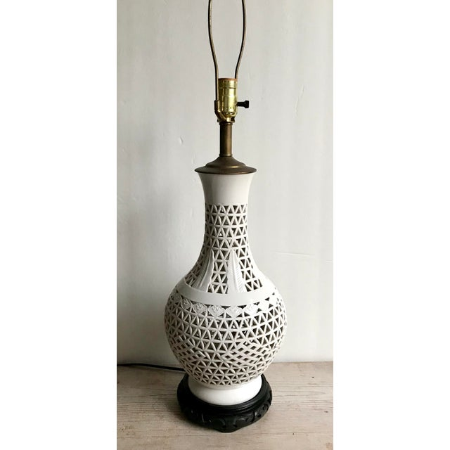 Mid-Century Blanc De Chine Ceramic Pierce Work Urn Table Lamp For Sale - Image 12 of 12