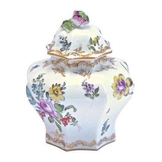 Antique Meissen Floral Lidded Jar For Sale