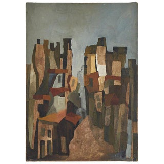 Abstract Cityscape Oil Painting For Sale