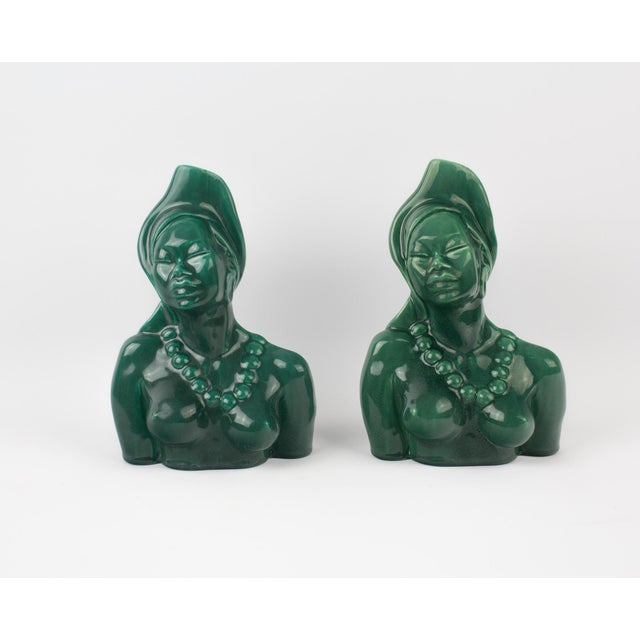 1950s Figurative Green Goddess Busts - a Pair For Sale - Image 13 of 13