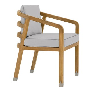 Linley Dining Arm Chair in Fashionable Grey with Moonlit Orchid Welt For Sale
