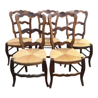 French Rush Seat Side Chairs - Set of 5