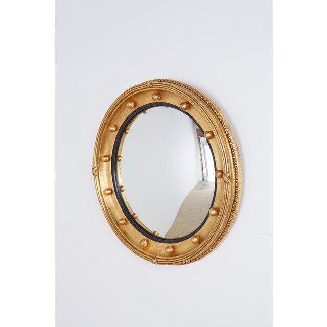 Georgian English Regency Style Round Convex Bullseye Mirror For Sale - Image 3 of 12