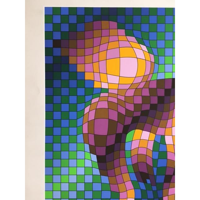 """Paper Victor Vasarely """"Harlequin Sportif"""" Signed Silkscreen Seriograph For Sale - Image 7 of 7"""
