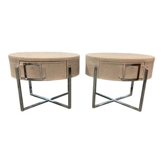 Pair of Custom Made Suede End Tables With Stainless Steel Frame For Sale
