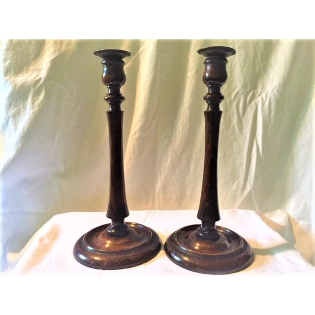 Antique 1930s Turned Wood Candlestick Holders - a Pair For Sale - Image 4 of 8