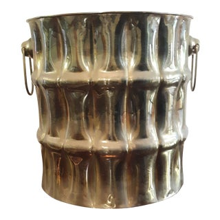 Vintage Modern Brass Basket Bamboo Cylindrical Planter Catch All For Sale