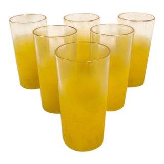 Mid-Century Highball Drinking Blendo Yellow Glasses - Set of 6