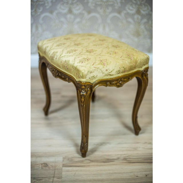 Rococo Wooden, Upholstered Stool in the Rococo Type, circa 1950s-1960s For Sale - Image 3 of 8