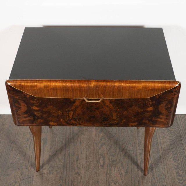 Elm Pair of Mid-Century Italian Nightstands/End Tables in Exotic Bookmatched Wood For Sale - Image 7 of 12