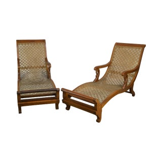 Anglo Indian Antique British Colonial Pair Caned Recamiers Chaise Lounges For Sale