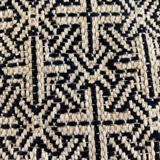 Italian Designer Woven Midnight Blue and Natural Geometric Fabric For Sale