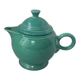 1940s Art Deco Fiestaware Teal Ceramic Tea Pot For Sale