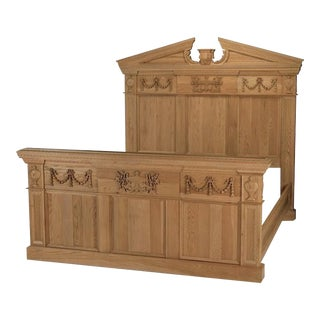 French Timothy Oulton Intricately Carved Modern King Size Oak Bedframe For Sale