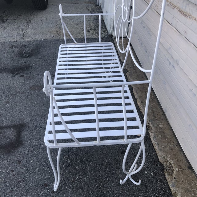 Nautical Shell Wrought Iron Art Nouveau Garden Bench For Sale - Image 4 of 10
