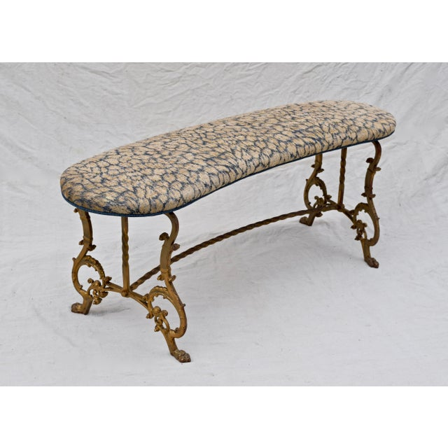 Art Deco Gilt Iron Bench in Indigo Blue Leopard For Sale - Image 3 of 13