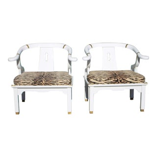 1970s James Mont Horseshoe Ming Style Freshly Lacquered Chairs - For Sale