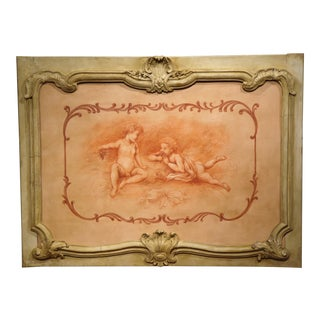 19th Century French Carved Painted Wood Panel Frame with Cherubs Eating Grapes