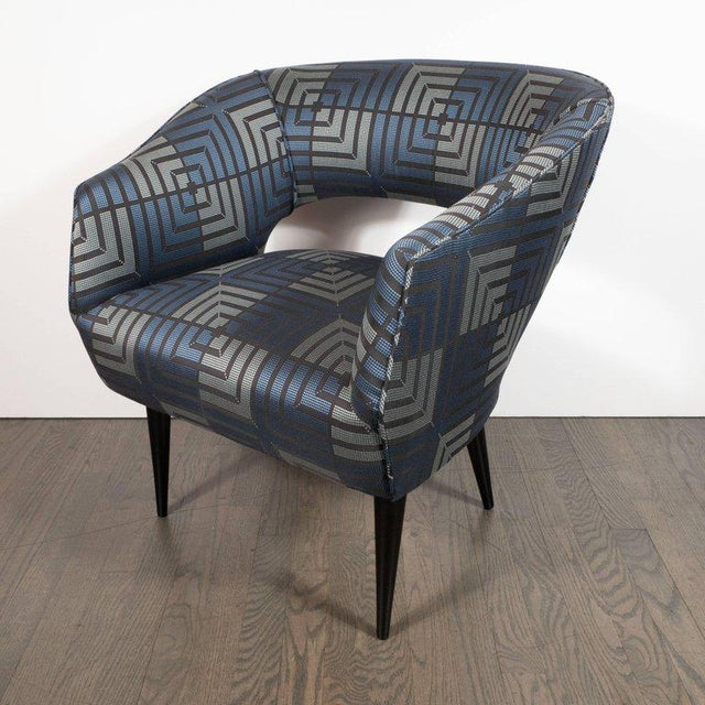 Mid-Century Modern Mid-Century Modern Club Chair in Sapphire & Platinum Fabric With Ebonized Walnut For Sale - Image 3 of 8