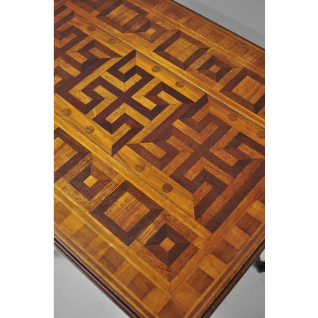 Brown Antique Dutch Marquetry Inlaid French Louis XV Style Carved Walnut Side Table For Sale - Image 8 of 13