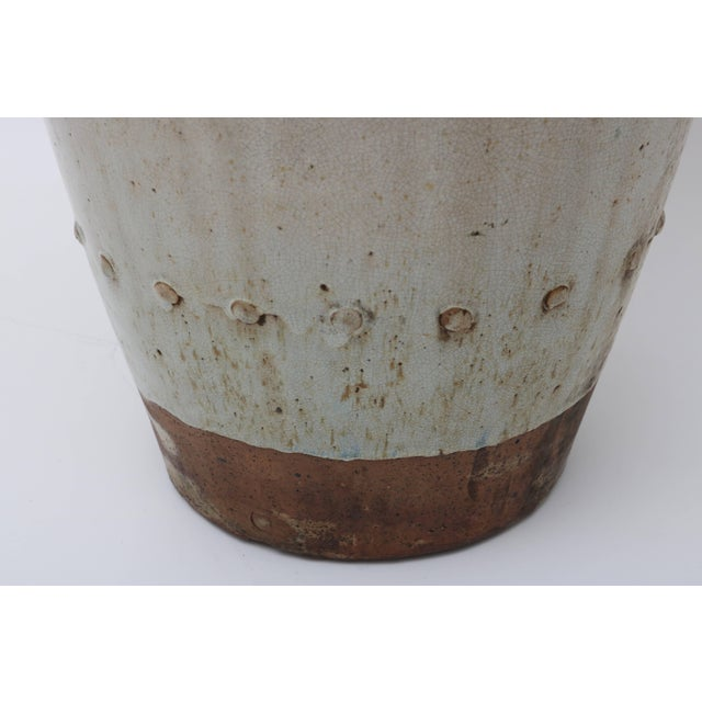 Large Scale Thai Glazed Earthen Ware Urn Putty Colored For Sale - Image 4 of 11