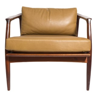 Milo Baughman Leather and Walnut Lounge Chair-1960's. Mfg. For Sale