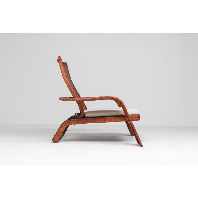 Metal 1970s Postmodern Lounge Chair in Woven Leather by Marzio Cecchi For Sale - Image 7 of 10