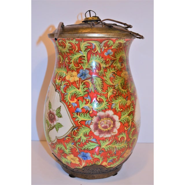 Red John-Richard Red Chinoiserie Porcelain and Brass Urn For Sale - Image 8 of 10
