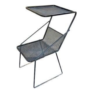 Mathieu Matégot Genuine Documented Black Side Table With Rigitule Shelves For Sale
