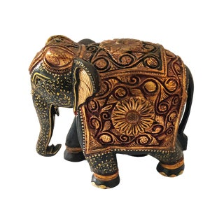 Hand-Painted and Carved Wooden Elephant For Sale