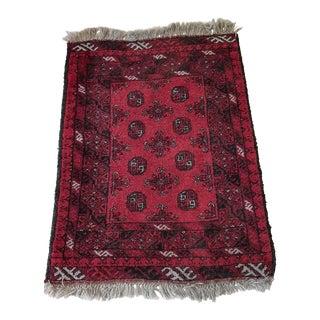 Asian Small Bokhara Hand Woven Brick Red Wool Rug