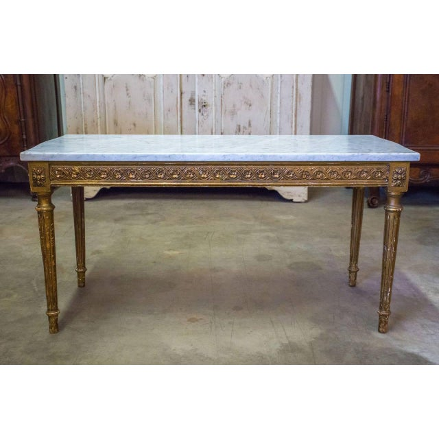 French French Louis XVI Style Gilded Coffee Table With Marble Top For Sale - Image 3 of 10