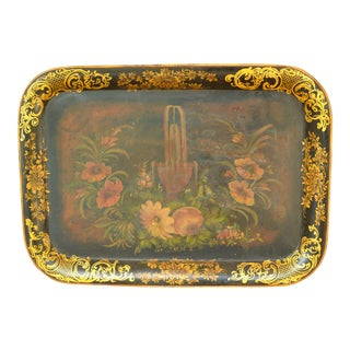 Antique French Victorian Tole Painted Tray For Sale