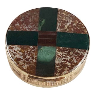 Antique Round Plaid Scottish Victorian Inlaid Agate Chalcedony Snuff Box For Sale