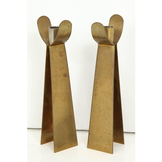 1960s Pair of Danish Brass Candleholders For Sale - Image 5 of 6